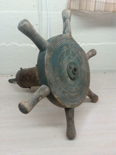 Antique primitive, marine, naval steering wheel boat
