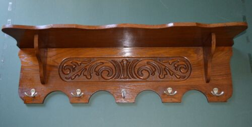 ANTIQUE ENGLISH CARVED SOLID OAK PLATE COPPER POT RACK WALL SHELF KITCHEN 32""