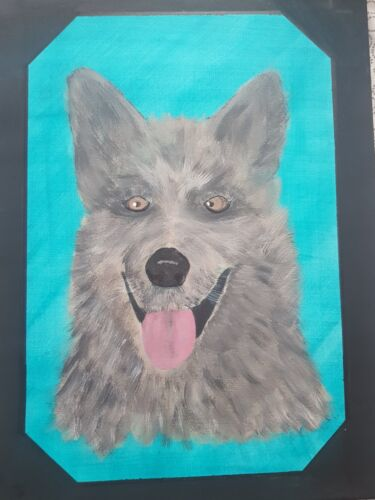 Original Art Acrylic Painting On Canvas Of A Grey Dog / Wolf With Turquoise Back