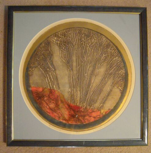 """Lydia Ruyle Original Collagraph """"Populus"""" #5 of 10 Signed 1978 21"""" X 21"""""""