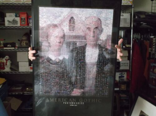 """American Gothic Mosaics Poster Farmer & Wife by Robert Silvers  24"""" W X 36"""" T"""