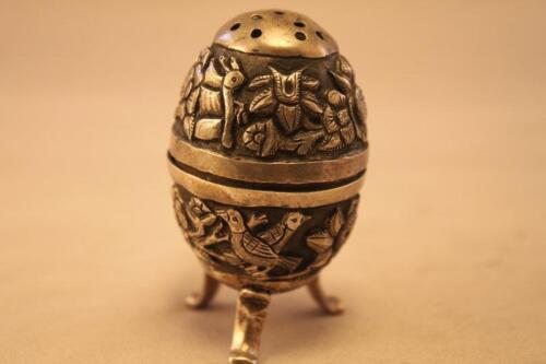 Antique Middle Eastern Repousse Silver Salt Shaker, 19th C. De