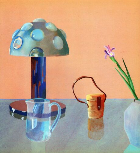 DAVID HOCKNEY BOOK PLATE PRINT STILL LIFE LAMP TABLE BINOCULARS FLOWER BEAKER