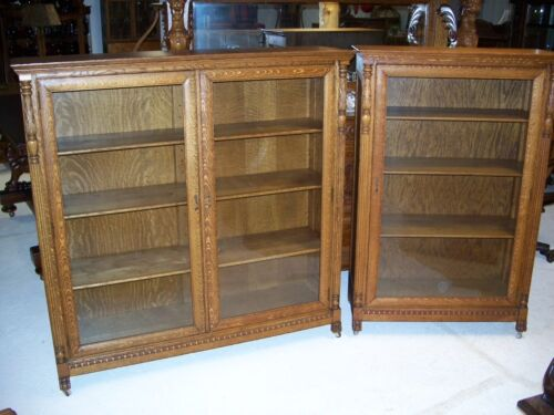 Antique Quarter Sawn Oak Matching Bookcases