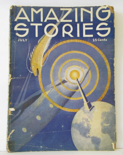 Vintage AMAZING STORIES Magazine Pulp Science Fiction - July 1933 - Vol 8 #4