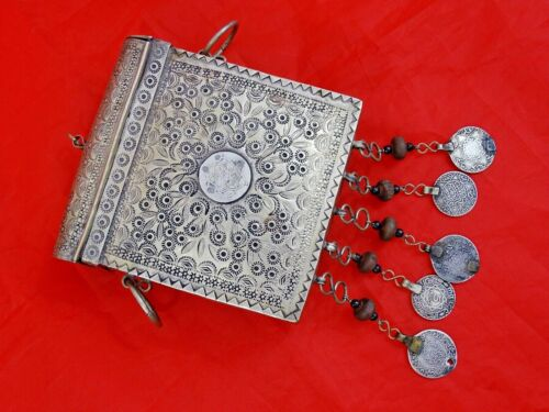 RARE ANTIQUE ISLAMIC SILVER QURAN CASE BOX OTTOMAN TURKEY MILITARY ARMY coins