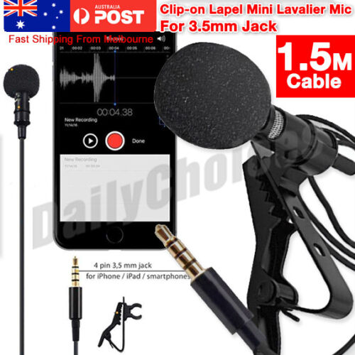 Lavalier Microphone 3.5mm Lapel Clip-on Mic for iPhone & Android Smartphones