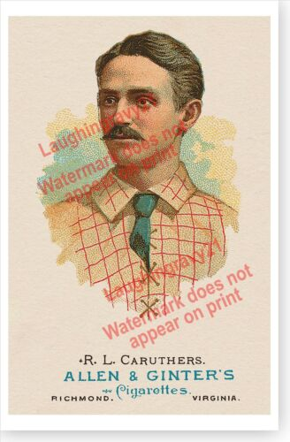 Retro Robert Lee Caruthers Brooklyn Bridegrooms Antique Baseball Poster