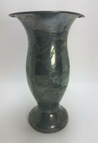 Antique Vintage Vase Silver Plated Hartford Co Etched  Dutch Windmill Church HSC