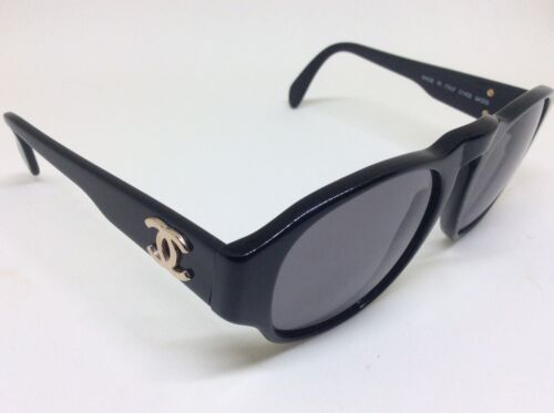 CHANEL  01452 VINTAGE SUNGLASSES BLACK & GOLD  CC LOGO.. JEWELL FOR COLLECTORS