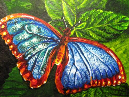 Painting Beautiful Butterfly Insect Flowers Green Leaf Nature ACEO Art .