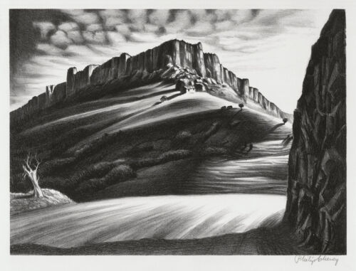 Original lithograph by Philip Cheney, Steamboat Rock, Wyoming, pencil signed