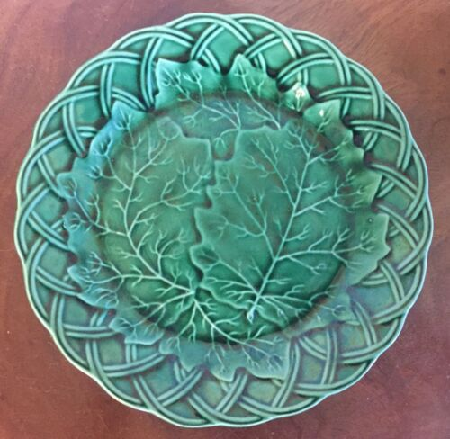 Antique Green Majolica Plate with Oak Leaf or Grape Vine 19th c. Basketweave