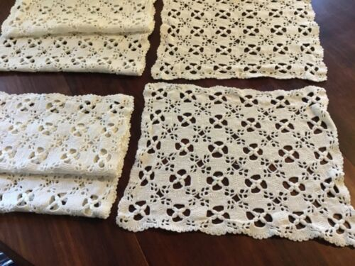 Vintage Hand Crochet Ivory Placemats 6