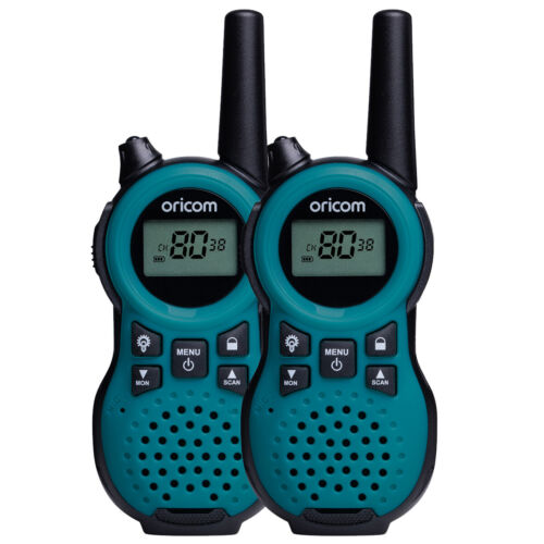 ORICOM PMR795 BLUE HANDHELD UHF ULTRA COMPACT RADIO WALKIE TWIN PACK 80 CHANNEL