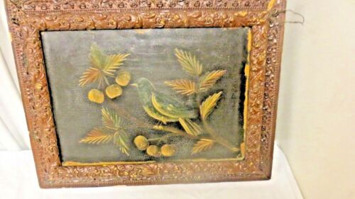 Antique Hand Painted Fold-out Letter, paper Wall Hanging Holder-Bird & Fruit