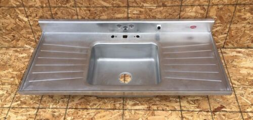 "Vtg Mid Century 66"" Stainless Steel Double Basin Kitchen Sink 140-19E"