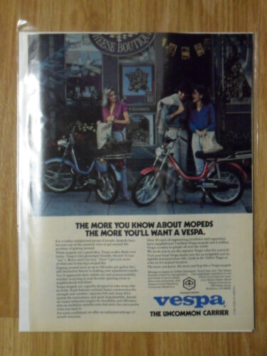 1980 Print Ad Vespa Moped Scooter Motorcycle At the Cheese Boutique