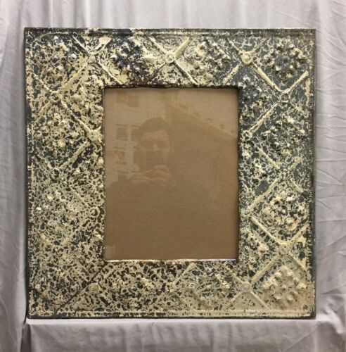 Antique Reclaimed TIN CEILING Metal 11X14 Cream Gray Picture Frame 86-19