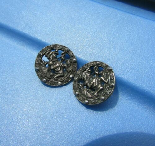 Antique Buttons Victorian Picture Playing Guitar Heart Reticulated Pierced Brass
