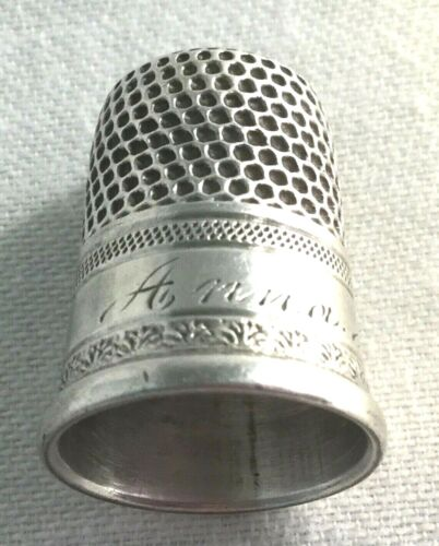 Sterling Silver Thimble Size 7-Sewing-Engraved.                            #889