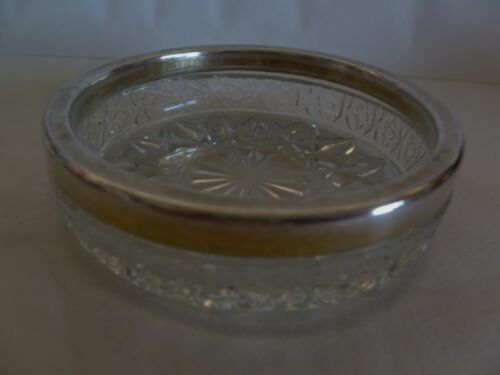 OLD VINTAGE SMALL GLASS BOWL WITH RUSSIAN 875 SILVER RIM