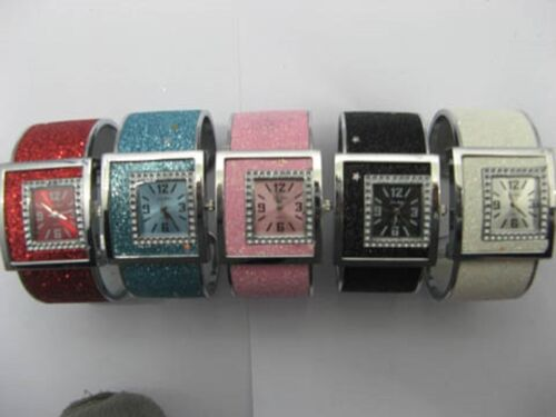 12 TOP Glittery Bangle Cuff Ladies Watches Mixed Colour