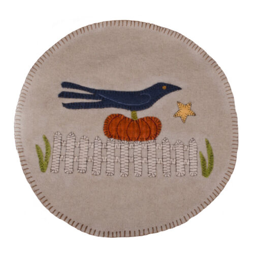 New Primitive Fall BLACK CROW ON PUMPKIN PENNY STITCHED CANDLE MAT Doily 15""
