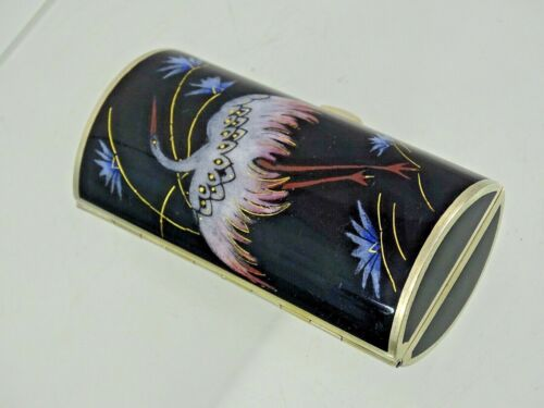 MAGNIFICENT ART DECO ANTIQUE STERLING SILVER ENAMEL CIGARETTE SNUFF BOX AUSTRIA