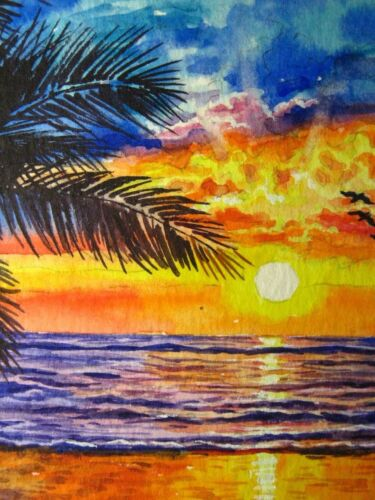 Watercolor Painting Ocean Sunset Beach Palm Tree Branch ACEO Art