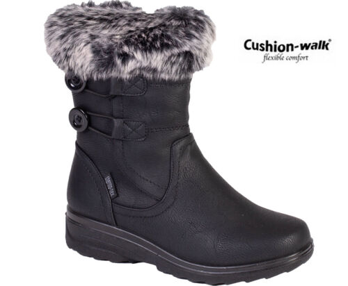 NEW Womens Mid Calf Fur Warm Grip Sole Snow Boots Ladies Fashion Winter Shoes SZ