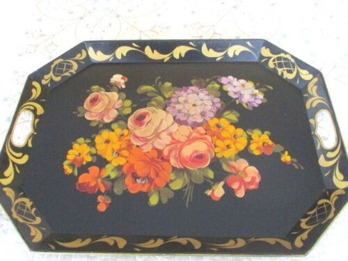 Gorgeous Antique HandPainted Muted Orange Cream Lavender Yellow Floral Tole Tray