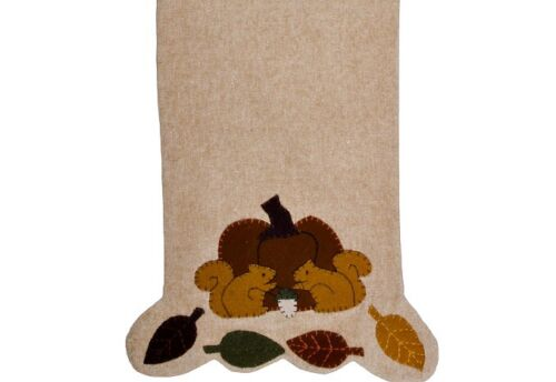 New Primitive PUMPKIN SQUIRREL FALL LEAVES PENNY STITCHED TABLE RUNNER  36""