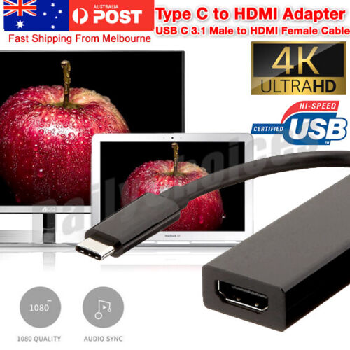 Type C USB-C to HDMI Adapter Cable Converter For MacBook Samsung ChromeBook AU