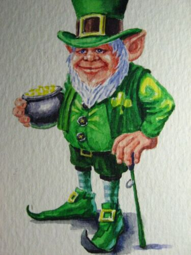 Watercolor Painting Leprechaun St. Patrick's Day ACEO Art