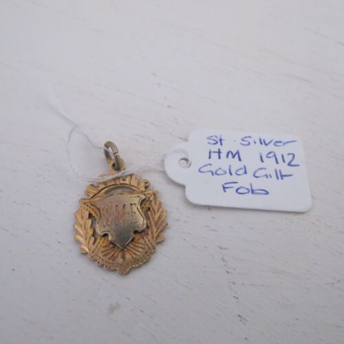 Antique sterling silver gilt fob pendant hall marked for 1912 (C)