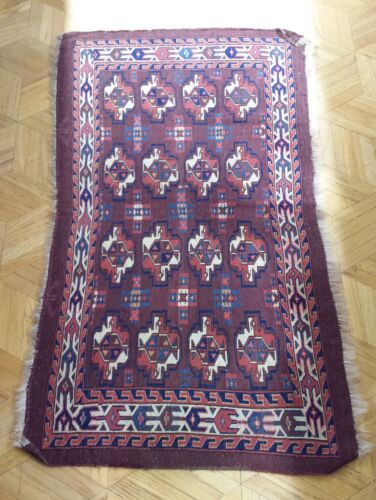 Antique Russian Hand Knotted Turkmenistan Yomut Rug