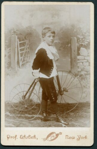 New York, NY, Portrait of Boy with Tricycle, by Prof. Erhlich, c1890 Studio Back