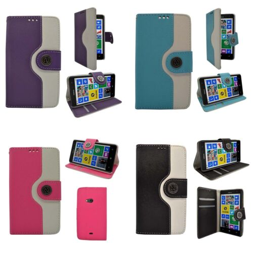CASE FOR NOKIA LUMIA N625 TWO COLOUR WALLET FLIP PRINT DESIGN PU LEATHER COVER