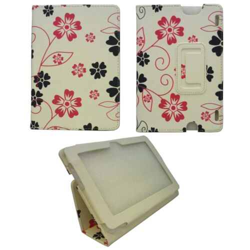 CASE FOR AMAZON KINDLE HDX WHITE PINK AND BLACK FLOWER SWIRLPU LEATHER COVER