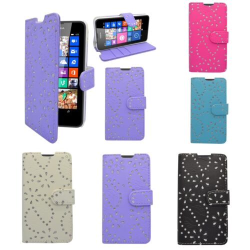 Case For Nokia Lumia 635 Glitter Wallet Flip Various Colours Pouch Phone Cover