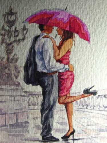 Painting Umbrella Rain Couple Man Woman Red Dress Love City Street ACEO Art