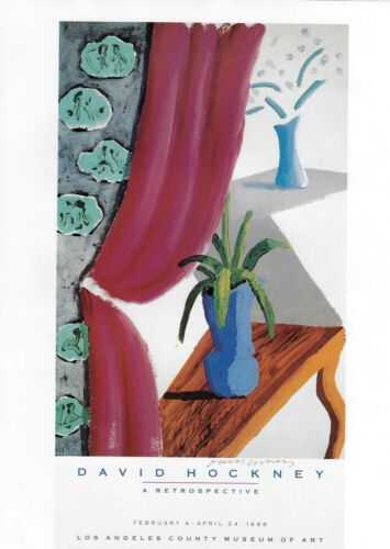 "DAVID HOCKNEY POSTER ART ""STILL LIFE"" ARETROSPECTIVE LOS ANGELES MUSEUM OF ART"