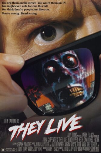 "THEY LIVE Movie Silk Fabric Poster 11""x17"" 1988 John Carpenter Rowdy Roddy Piper"