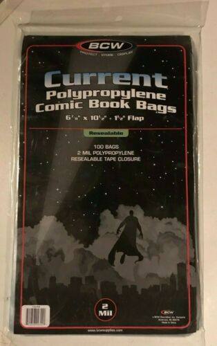 Comic Book Bags BCW 100 Current Size Resealable - Polypropylene 2 Mil Thick