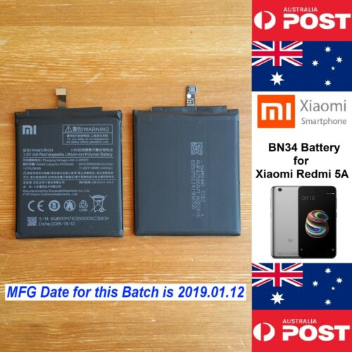 GENUINE Xiaomi Redmi 5 A Battery  BN34  3000mAh Good Quality - Local Seller