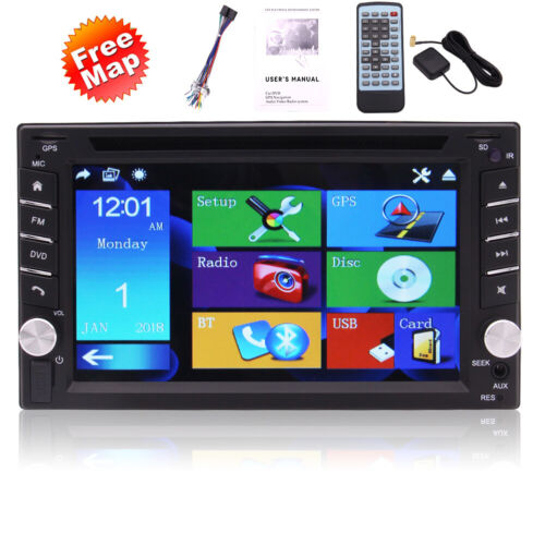 Double 2 DIN GPS SAT Nav Car Stereo Radio CD Player Touch Screen Head Unit +Cam