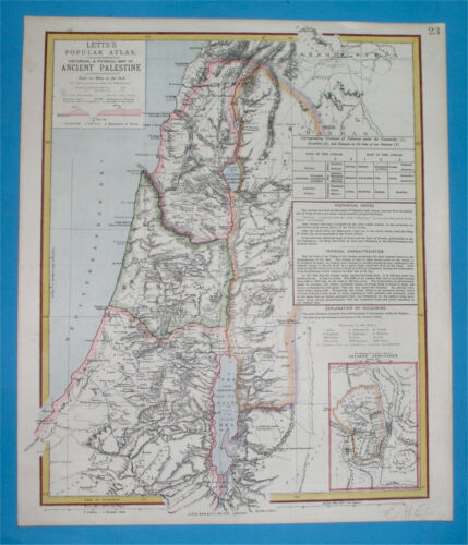 1883 LETTS'S ORIGINAL MAP HOLY LAND PALESTINE ISRAEL JORDAN LEBANON JERUSALEM