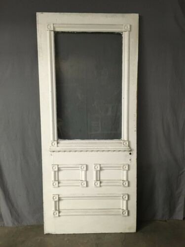 Antique Victorian Solid Wood Entry Door Half Glass Bullseyes Old Vtg 414-19E