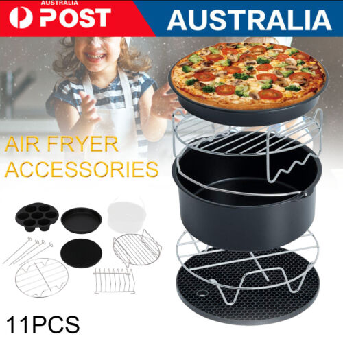 """11PCS 8"""" Air Fryer Accessories Rack Cake Pizza Oven Barbecue Frying Pan Tray"""